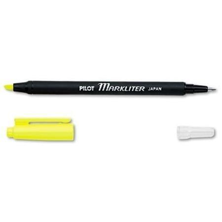 Chisel Point Yellow Ink - Pilot Markliter Ball Pen And Highlighter - Chisel Pen Point Style - Yellow Ink - Black Barrel - 12 / Dozen (45600_40) WLM
