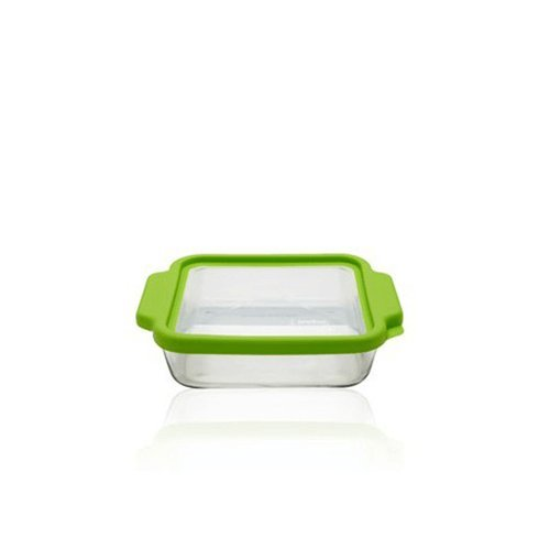 Casserole Anchor Dish Hocking (Anchor Hocking 8-InchSquare Glass Baking Dish with Green TrueFit Lid)