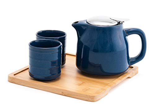Happy Sales HSTS-T2DBU, Tea Set with 20 oz Teapot,Two Cups and Bamboo Tray, Blue