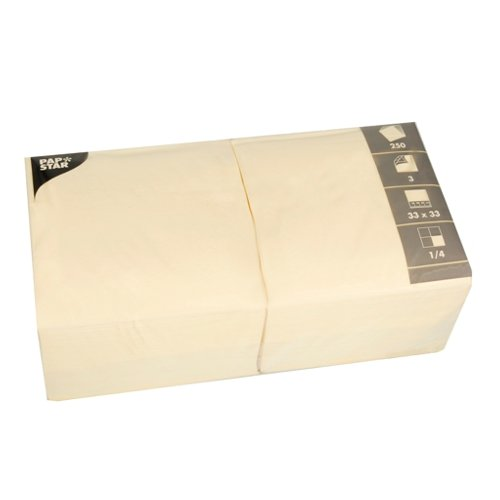 Papstar 12478 250 Servietten, 3-lagig 1/4-Falz 33 x 33 cm creme