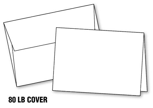 "Blank White Invitation Cards with Envelopes, (10""x7"") 5""x7"" When Folded, Scored, Heavy Duty, Blank Greeting Christmas Cards Printable (20 Cards & Envelopes) A7."