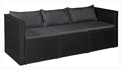 K&A Company Outdoor Sofa, 3 Seater Garden Sofa Black Poly Rattan with Gray Cushions