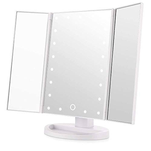 Easehold 21Pcs Led Vanity Make Up Tri-Fold with 38Pcs Lights Ultra-Thin 2x/5x/10x Magnifying 180 Degree Free Rotation Table Countertop Cosmetic Bathroom Mirror(White)