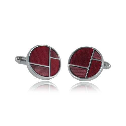 Cuff-Daddy Retro Reflective Red & Pink Enamel Round Silver Cufflinks with Presentation ()