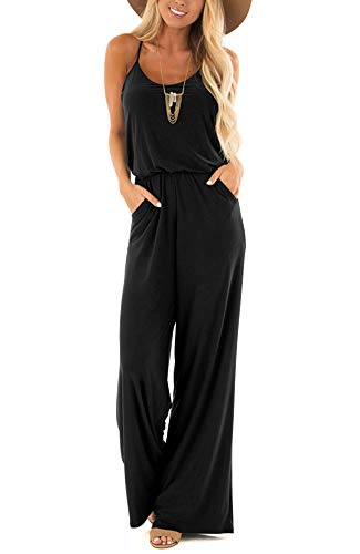 Womens Casual Loose V Neck Sleeveless Spaghetti Strap Wide Leg Pants Jumpsuit Rompers Black Large