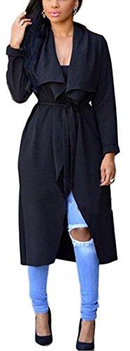 Black Duster Jacket - Women Duster Cloak Cape Long Sleeve Lapel Collar Long Cardigan Jacket Trench Coat Black S