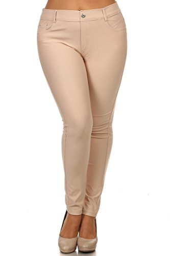 ICONOFLASH Women's Cotton Blend Pull-on Color Jeggings (Camel, 2XL)