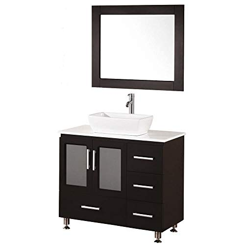 Espresso Finish Vanity - Design Element Stanton Single Vessel Sink Vanity Set with Espresso Finish, 36-Inch