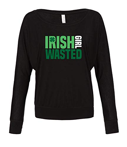 (Panoware Women's St Patricks Day Long Sleeve Off Shoulder Flowy T-Shirt | Irish Girl Wasted, Black,)
