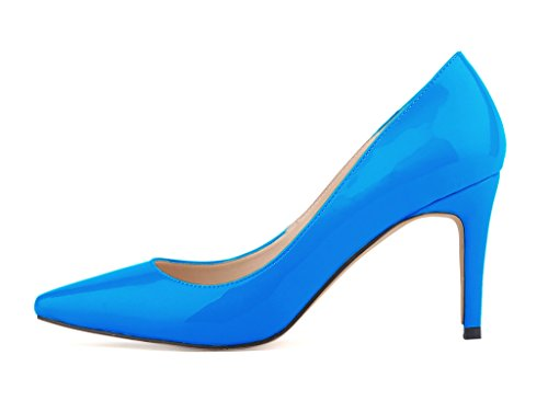 Fashion On High PU Women's Pumps Toe Pointy Patent Stiletto Blue Heels Slip Shoes wfxn1xq