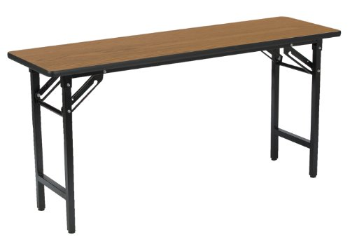 KFI Seating Folding Utility/Training Table with Medium Oak Top, Commercial Grade, 18-Inch by 60-Inch, Black ()