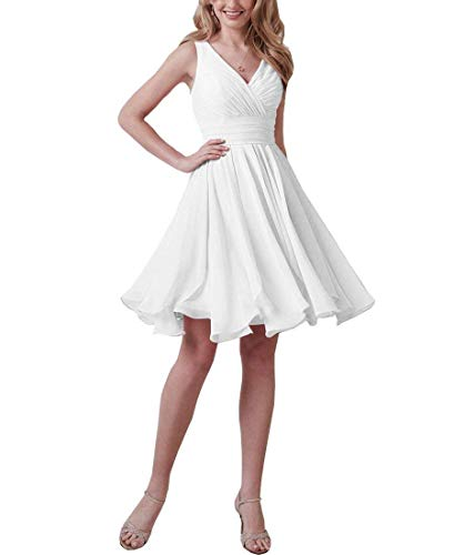 Simple V-Neck Short White Bridesmaid Dresses Chiffon Wedding Guest Down Formal Evening Dress B002 (White Chiffon Short Dress)