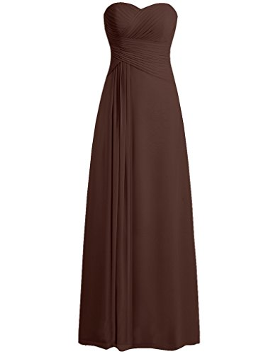 Chocolate Cdress Sweetheart Dresses Party Prom Sleeveless Gowns Chiffon Formal Evening 44qwazvx