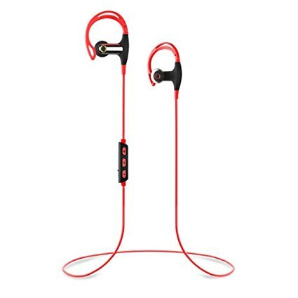 Omer Electronics SBH-1 Sports Stereo Bluetooth Headphones v4.1+EDR IPX4 Water Resistant 100% Compatibility (Red) (Bluetooth Headphones Jaw)