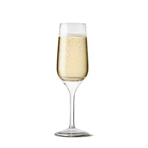 TOSSWARE 6oz Stemmed Flute - recyclable champagne plastic cup - SET OF 12 - detachable stem, shatterproof and BPA-free flute glasses