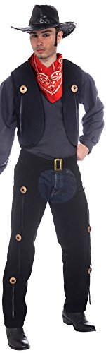 Forum Novelties Men's Wild West Cowboy Vest and Chaps Costume Set, Multi, One Size