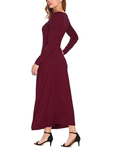 Lunga Con Maxi Casuale Donna Lunga Rosso Allentata Vestito Burlady Le Manica Tasche Vino 5n8R4qn