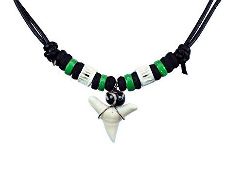 Exoticdream Real Shark Tooth Necklace Rasta Surfer Hawaiian Beach Boys Girls Color Beads (LIGHT (Surfer Shark Costume)
