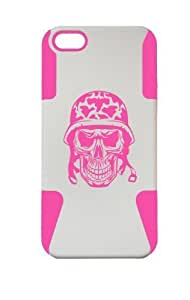 PLASTIC & SILICONE PINK/WHITE CASE FOR IPHONE 5/5S PILOT SKULL COVER