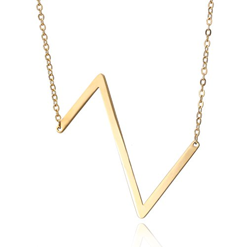 RINHOO Stainless Steel Gold Initial Alphabet 27 Letters Script Name Pendant Chain Necklace from A-Z(Z) -