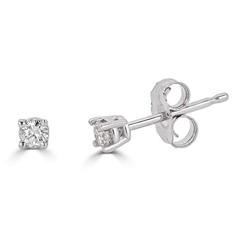 14K White Gold Natural 0.10 Carat Total Weight Round Diamond Stud Earrings for Women (White-Gold, 0.10)