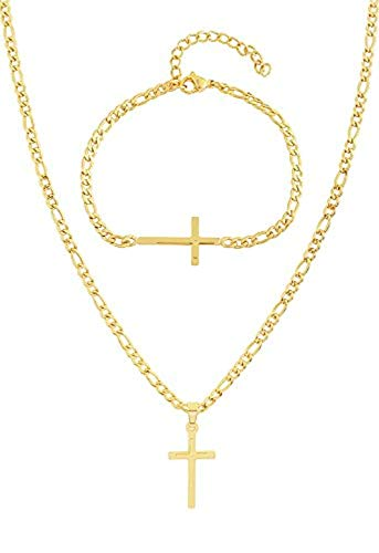 EDFORCE 20 inch Gold Women's Men's Stainless Steel Figaro Link Chain Necklace Cross Pendant with Matching Gold 8.5 inch Figaro Bracelet Jewelry