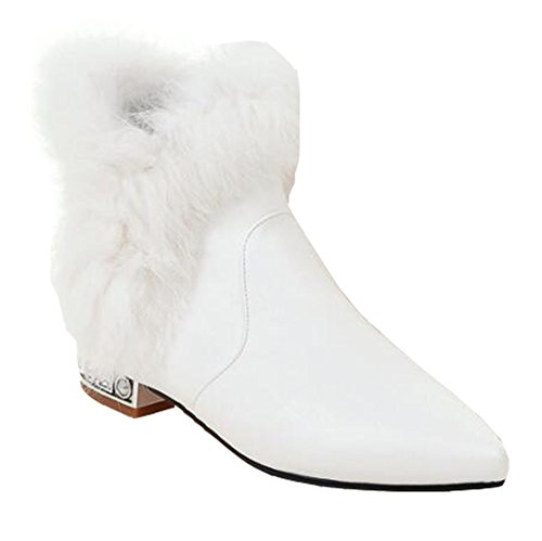 CHFSO Women's Elegant Waterproof Fully Fur Lined Pointed Toe Pull On Low Heel Wedding Ankle Winter Boots White 7.5 B(M) US by CHFSO