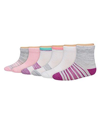 Hanes Toddler Girls 6-Pack Ankle Socks, 4T, Assorted