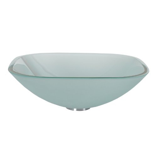Glass Frosted Square Vessel - ELITE Bathroom Frosted Square Tempered Glass Vessel Sink for Vanity