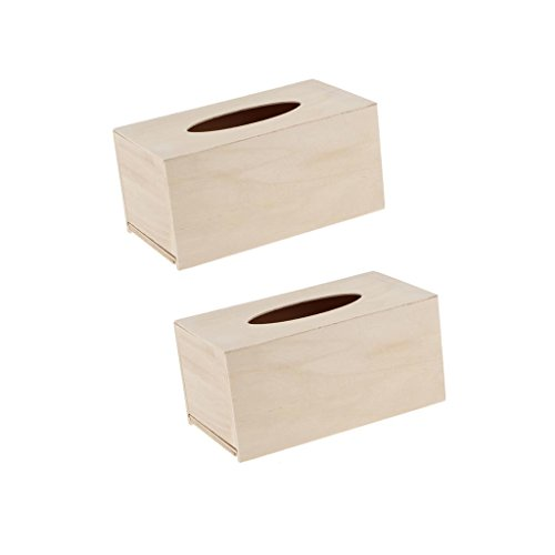 - Baoblaze 2pc Creative Unfinished Wood Tissue Box Cover Paper Holder Projects Crafting