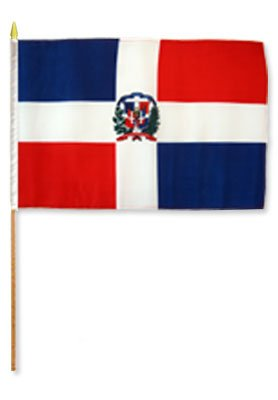 Dominican Republic Stick Flags (Set of 12 High Quality Polyester Flags), 12″ x 18″