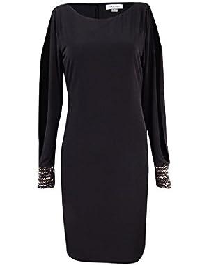 Women's Cold-Shoulder Embellished Cuff Dress