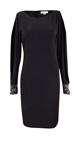 - Calvin Klein Womens Plus Matte Jersey Beaded Party Dress Black 18W