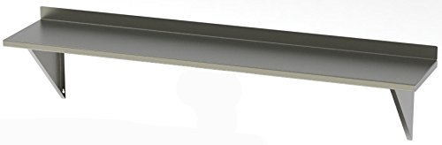 "Stainless Supply 304 Stainless Steel Fixed Shelf - Solid with Backsplash (Various Sizes Available; See Drop Down Menu) - Selected Size: (8""x36"")"