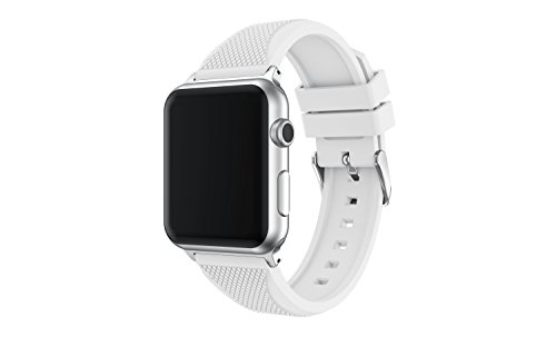 Enow Compatible for Apple Watch Band, Soft Silicone Replacement Sports Wristband Strap for 42mm Apple Watch Series 3 Series 2 Series 1 Sport and Edition,White