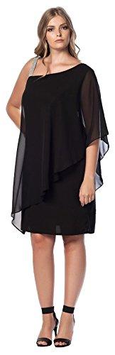 Damen Kleid One Shoulder Abendkleid mit Steine festlich auch Große Größen, Wickelkleid Cocktail Empire leichtes Tüll elegant sexy, asymmetrisch transparent durchsichtig