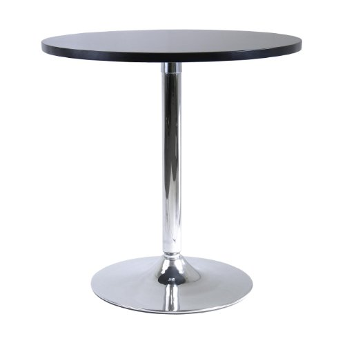 Winsome Wood 29″ Round Dining Table; Black w/Metal Leg