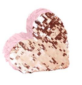 Rose Gold Metallisch Glanzende Und Pastell Rosa Herz Pinata