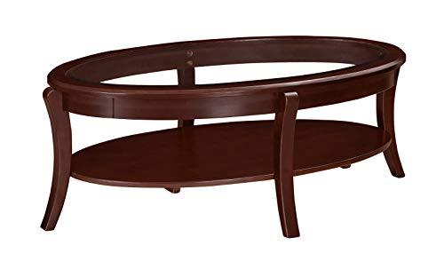 Ravenna Home Oval Wood and Glass Shelf Coffee Table, 49 W, Dark Espresso