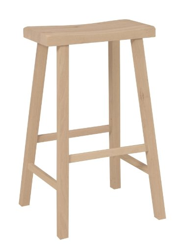 International Concepts 1S-683 29-Inch Saddle Seat Stool, Unfinished ()