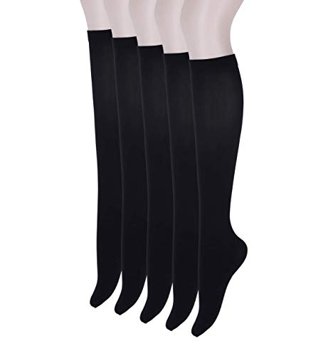 Woosung Quality Women's Opaque Knee-High Fit Socks with Foot Cushion (Black, 5) by Woosung Textile