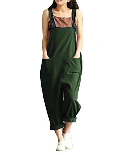 StyleDome Women's Strap Overall Pockets Long Playsuit Casual Baggy Sleeveless Pants Jumpsuit Trousers Green 4