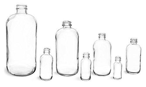 8 oz – claro botellas de vidrio – sin tapas (2 casos/12 por