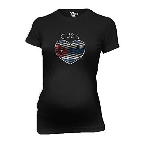 Cuba Rhinestone Heart Women's Maternity T-Shirt (Black, Large) ()