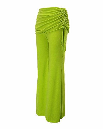 StyleDome Pantalones Anchos Largos Casuales Elegantes Oficina Yoga Jogging Deporte para Mujer Verde Limón