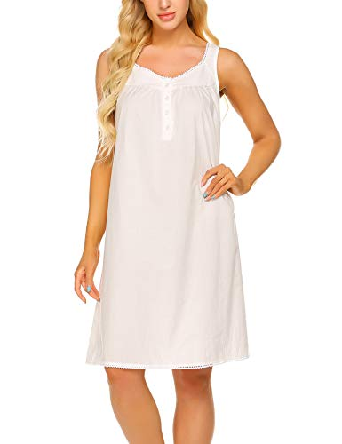 Ekouaer Cotton Nightgown with Button Soft Ladies Night Shirts Sleeveless Sleep Dress(Raw White, XXL)