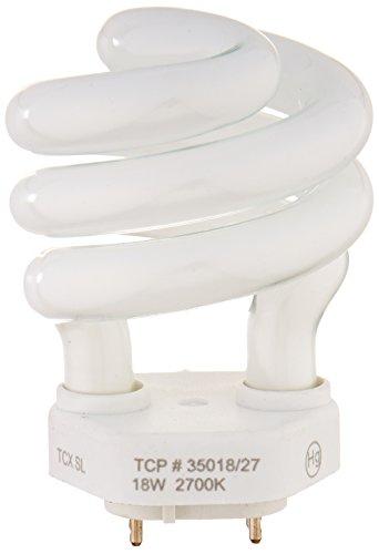 TCP 35018 CFL Spring Lamp - 75 Watt Equivalent (only 18W used!) Soft White (2700K) Spiral TCX Base Light Bulb