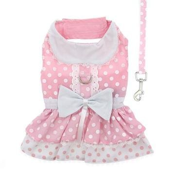Doggie Design Soft Pink Polka Dot Harness Dress with Leash, Small