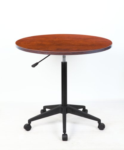 "Boss Office Products N30-C Mobile Table, 32"", Round, Cherry"