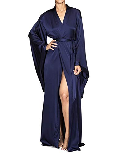 Nudwear Long Kimono Robe for Women Luxury Silk with Japanese Sleeves Navy